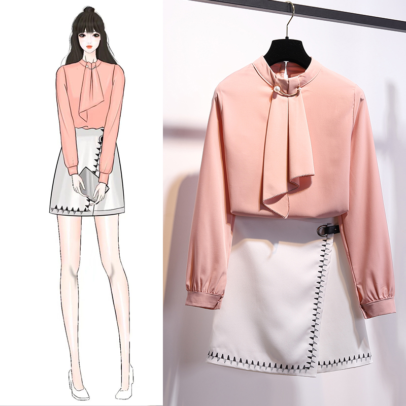 neck Mini Sky white Pearl O Women Set Blouses pink Dz262 Embroidery Decoration Sets Fashion And Summer Spring Clothing Two Blue Tops Skirt Piece HwgFBaqPBx