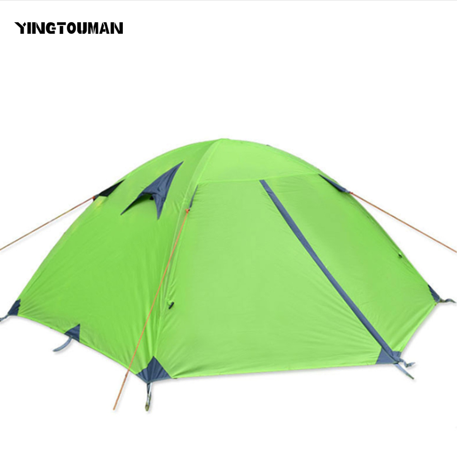 YINGTOUMAN Outdoor Double Person Double Layer Tent Aluminum Rod Camping Hiking Tent Sun Protection Camping Accessories 10pcs outdoor hiking portable folding the rain and sun lightweight silver aluminum pet film first aid tent