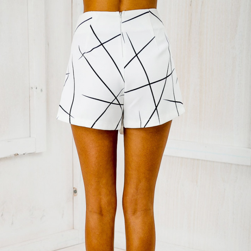 New 2017 Summer Style Shorts Women Sharp Lines Layered Zipper Skort Irregular OL White Culottes Shorts Skirts 70081
