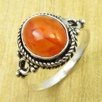 Carnelian HANDMADE Ring Size US 7 25 Silver Plated Fashion Jewellery