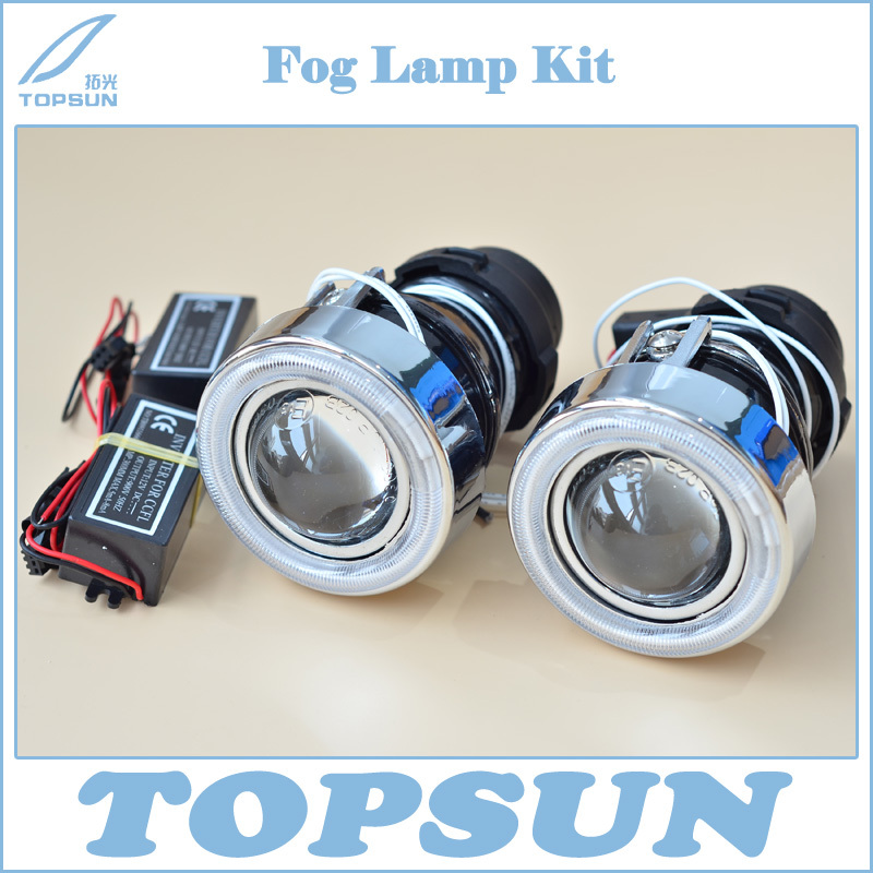 Universal Fit HID Fog Lamp Projector Lens glass Lens with Cover and CCFL Angel eyes, Using Xenon H3 Bulb free shipping hid xenon fog lamp projector lens kit glass lens with white red blue yellow purple green cob angel eyes