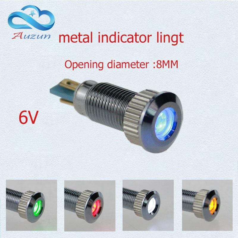 10 StÜcke Metall Indicator Light 8mm Metall Lampe Spannung 6 V Warnung Fahrzeug Lampe Rot Grün Gelb Blau Und Weiß