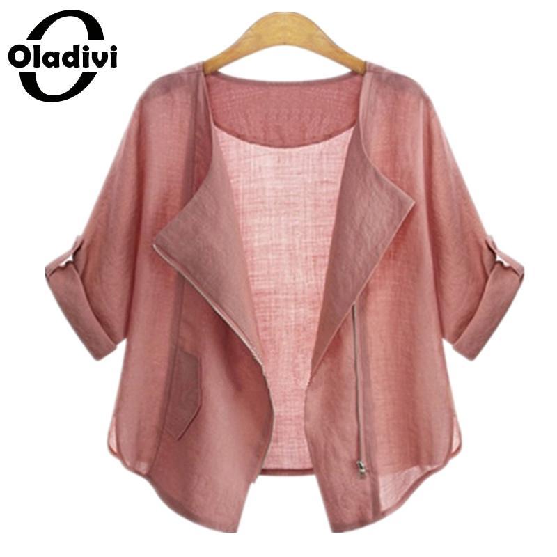 Oladivi 2018 Summer Fashion Plus Size Հագուստ Cardigans Պատահական կանացի վերնաշապիկներ և վերնաշապիկներ կանանց համար Արևապաշտպան Kimono Tops