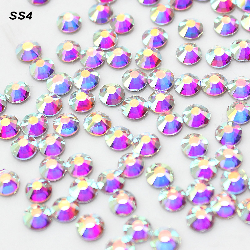 Small Size SS4(1.5-1.6mm)1440pcs/Bag Clear Crystal AB color Nail Art  Decorations Flatback Rhinestones  3D Non HotFix FlatBack gitter 2 6mm citrine ab color resin rhinestones 14 facets round flatback non hotfix beads for 3d nail art decorations diy design
