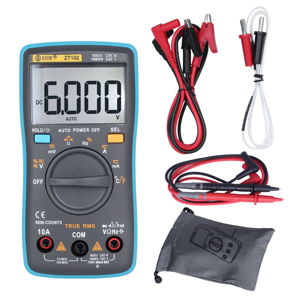 BSIDE ZT102 Ture RMS Digital Multimeter AC/DC Voltage Current Temperature Ohm Frequency Diode Resistance Capacitance Tester