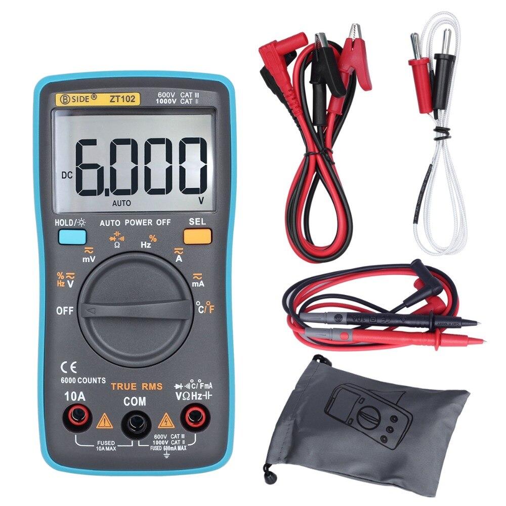 BSIDE ZT102 Ture RMS Digital-Multimeter AC/DC Spannung Strom Temperatur Ohm Frequenz Diode Widerstand Kapazität Tester