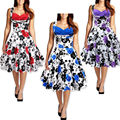 2016 Women's Sweetheart Flared Vintage Floral Print Hepburn Swing Party Picnic Dress Summer Women 50s Rockabilly Pin Up Dresses