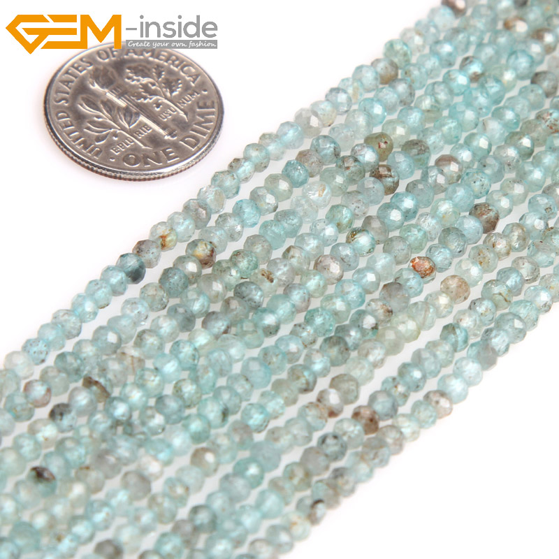 Gem-inside Natural Faceted Light Blue Heishi Rondelle Disc Spacer Apatite Beads For Jewelry Making Strand 15inches DIY Jewellery