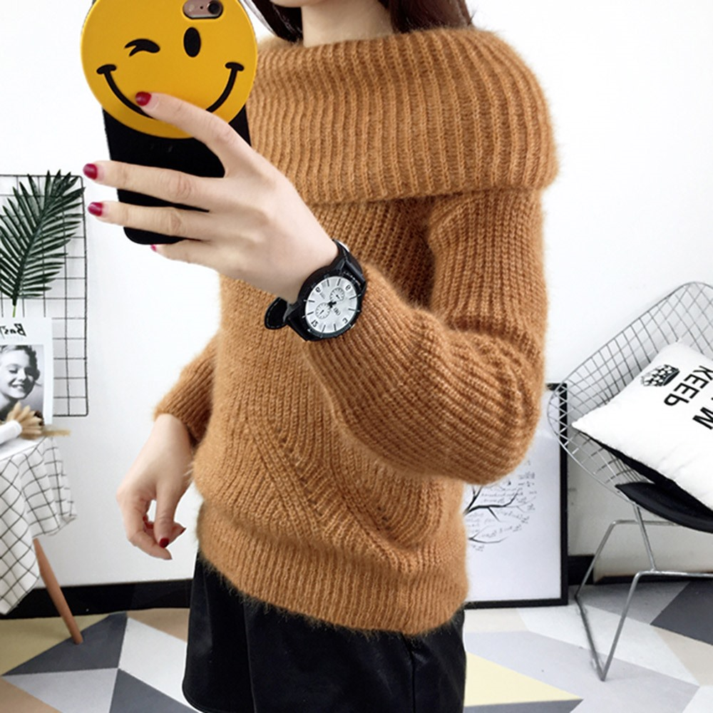 2018 Winter Casual Elegant Beige Office Lady Vintage Women Tops Slim Thick Plain Slash Neck Female Fashion Gray Sweet Sweaters 5