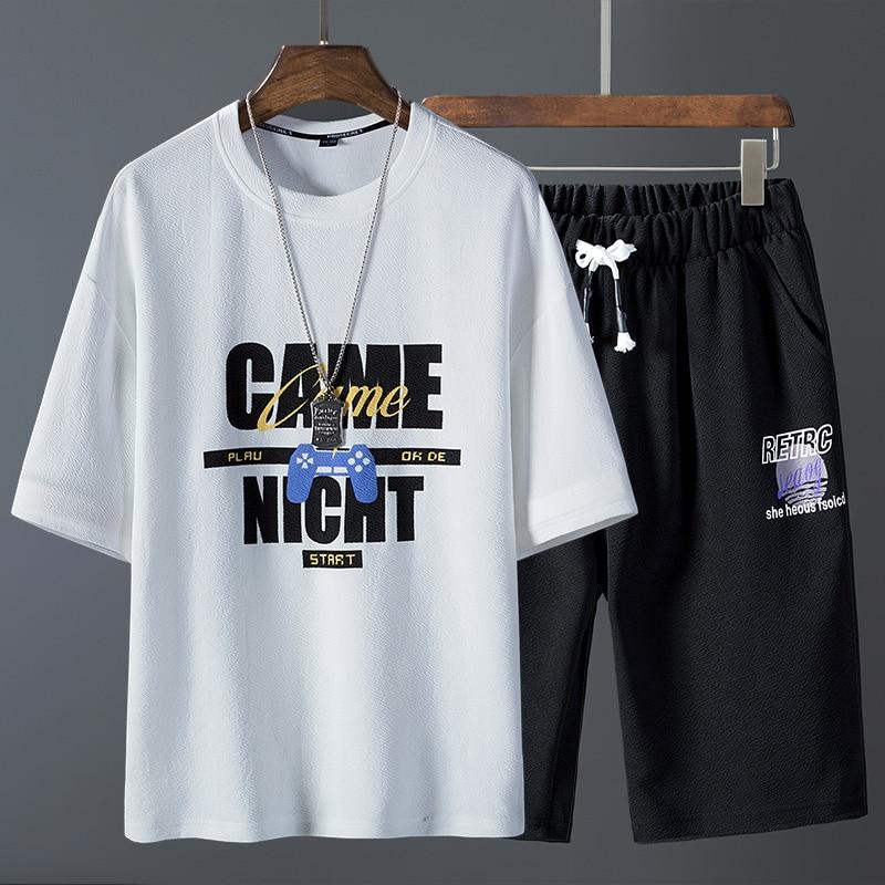 Men Mummer Tracksuits T-shirts+Pants 2 Pieces Sets New Fashion Men Loose Sweatsuit Elastic Waist Casual Sweat Sets For  Man