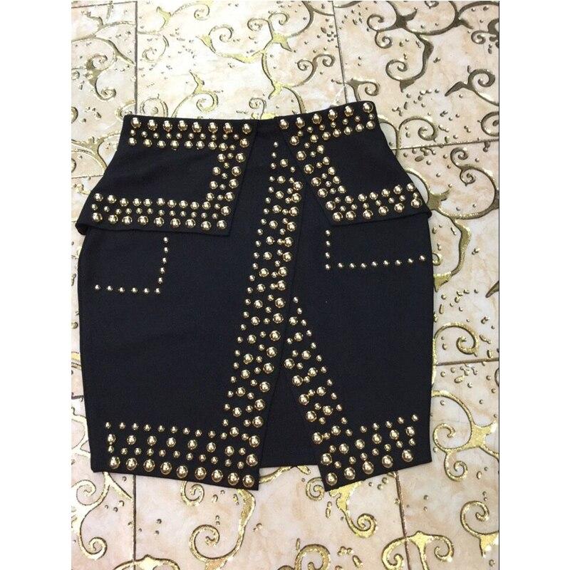 Estilo Negro Falda Del Metal Asimétrico Bodycon Rebordear Invierno Señoras 2017 Corta Otoño Faldas Cintura Mujer Alta Casual oro Split Nuevo Para 58xwIqH