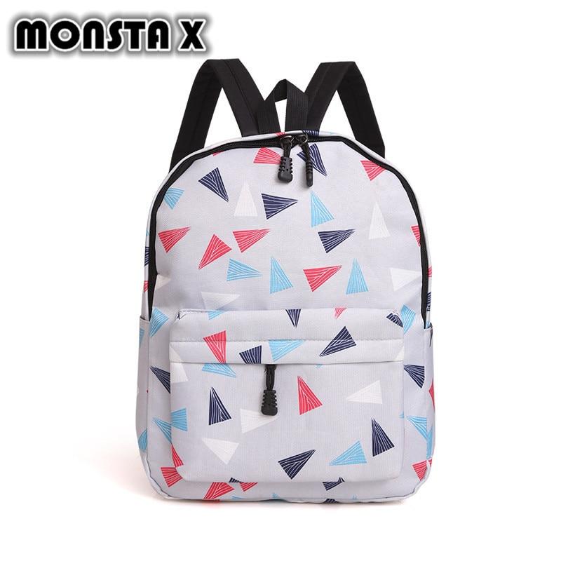 MONSTA X Womens USB Charge Backpack Korean Style Canvas Geometric Schoolbag For Teenage Girls Backpacks Ladies Shoulder Bags