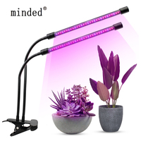Dimmable LED Grow Light 20W Dual Head Led Plant Grow Light Lamp 60LEDs Red Blue Growing Lamps USB 3 Modes Phyto Lamp For Plants