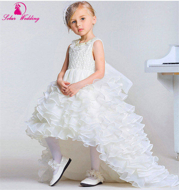 White Ivory Lace Flower Girl Dress For Wedding Kids Princess Dress Girl  Tutu Dress Wedding Custom d683546708d8