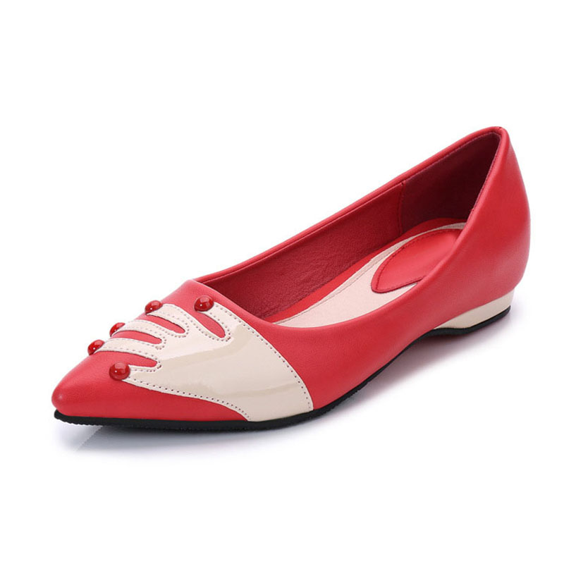 2017 New Spring All-match Women Pointed Toe Shoe Lady Fashion Casual Flat Black Breathable Rivets Slip On Soft Shallow Red Palm new spring summer women flats brand casual women shoes flat heels pu fashion crystal shoe pointed toe soft soles