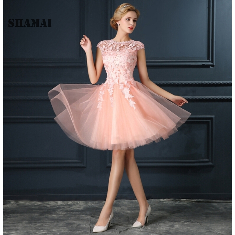 SHAMAI Evening   Dresses   Lace-Up A-Line Short Tulle   Prom     Dress   2019 Lace Formal Cocktail   Dress   Evening Party   Dresses   Fashion