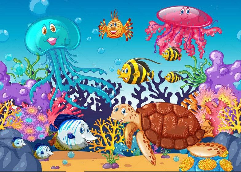Under The Ocean Scene Sea Animals Fish Photo Studio