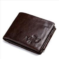 Vintage Crazy Horse Leather Tri Fold Men's Wallet Genuine Leather Clutch Coin Purses Card Holder Portemonnee voor heren Carteira