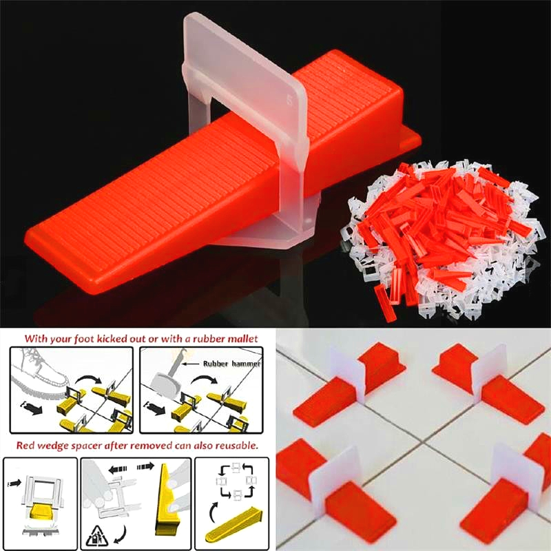 300pcs Plastic Ceramic Tile Leveling System 200 Clips+100 Wedges Tiling Flooring Tools Wedges Clips free shipping image