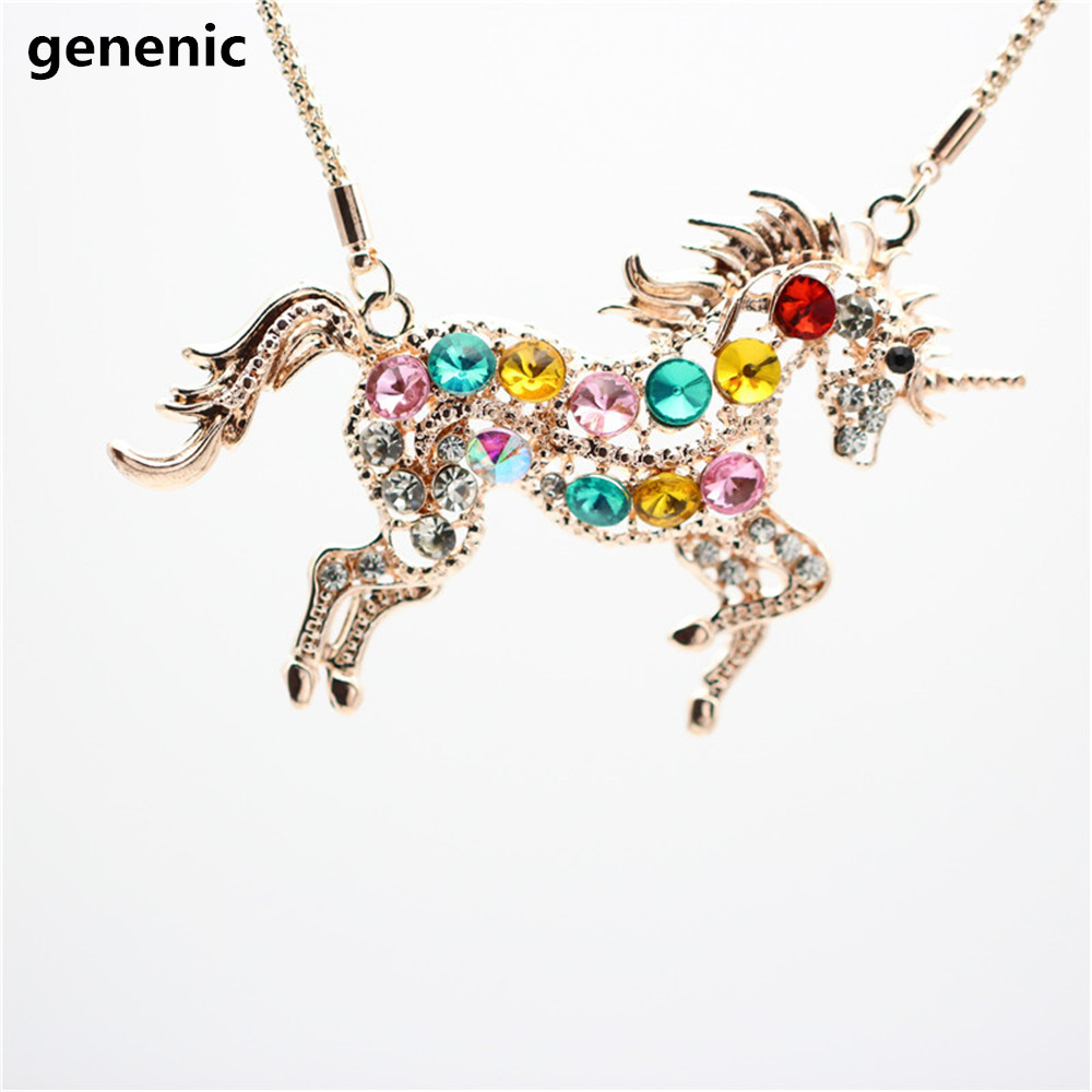 aliexpress horse com accessories in pendant chain woman crystal item alibaba steed colorful from unicorn necklaces girl on jewelry sweater