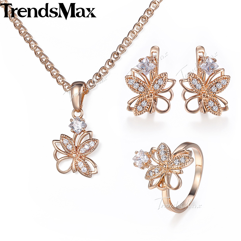 Trendsmax Women's Jewelry Set CZ Flower Earrings Ring Pendant Necklace Rose Gold Filled Jewelry For Women KGE162