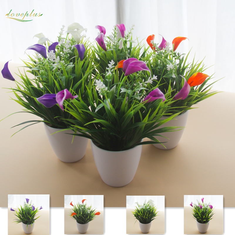 Zinmol High Quality Calla Lily Artificial Flower Fake Grass Plants Bonsai for home wedding party one set with vase gift