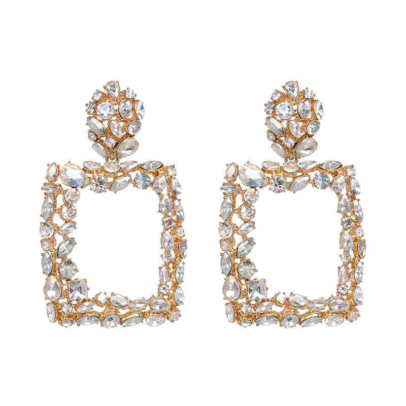 AENSOA Vintage ZA Crystal Big Square Drop Earrings For Women Multicolor Shiny Party Gift Jewelry Trendy Bohemian Dangle Earrings
