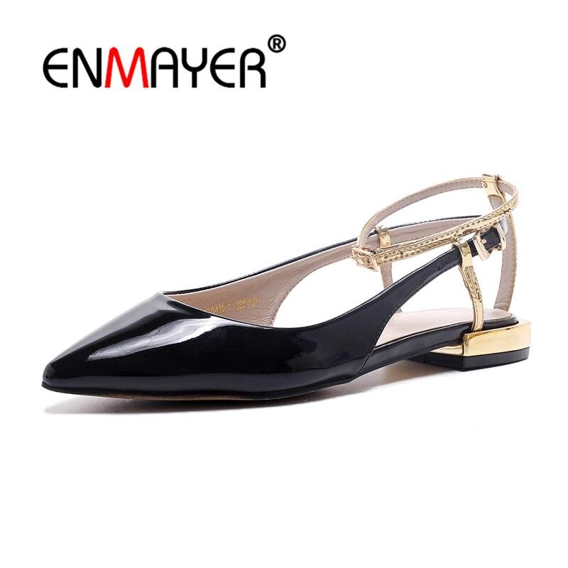 Enmayer Fashion Women Genuine Leather Pointed Sandals Square Heel Metal Buckle Office Low Heel Women Shoes Size 34-39 CR826 fashion women s sandals with metal and stiletto heel design