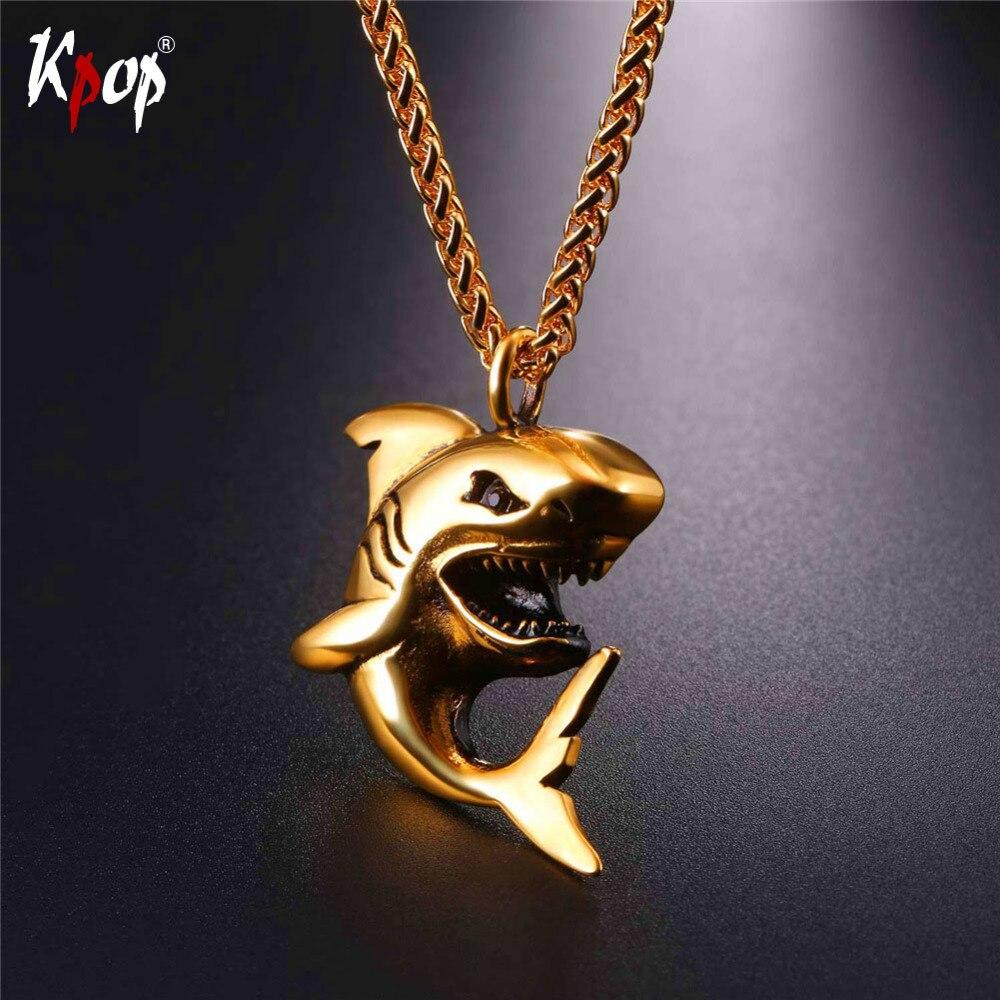 Kpop Edelstahl Hai Halskette Gold/Schwarz Farbe Großhandel Trendy Fisch Tiere Schmuck Halsketten & Anhänger GP295
