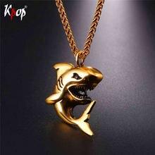 Kpop подвеска в форме акулы из нержавеющей стали ожерелье золотого/черного