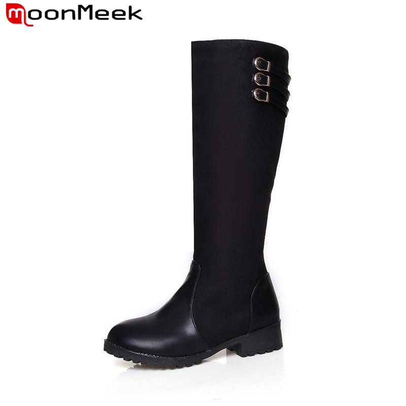 MoonMeek New arrival popular many colors knee high boots round toe thick low boots sexy  ...