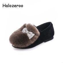 456db75b Halozeroo 2018 nuevo bebé de invierno de diamantes de imitación negro  zapatos de los niños de moda cálida pisos chico arco marca.