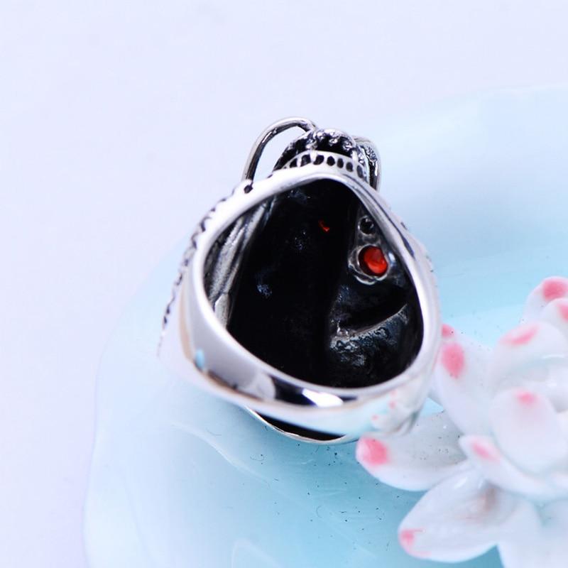 Autentiska 925 sterling silver Dragon Ringar för män med granat - Märkessmycken - Foto 6