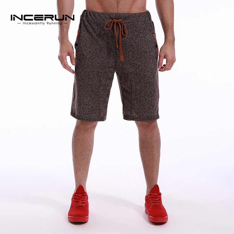 INCERUN Mens Fleece Shorts 2019 Summer Knee Length Leisure Bottoms For Men Short Sweatpants Casual Joggers Plain Male Shorts 3XL