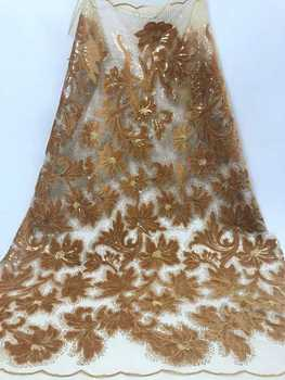 African Beaded Lace Fabric Embroidered Nigerian Laces Fabric 2019 High Quality Gold French Tulle Lace Fabric For Women  JJN418