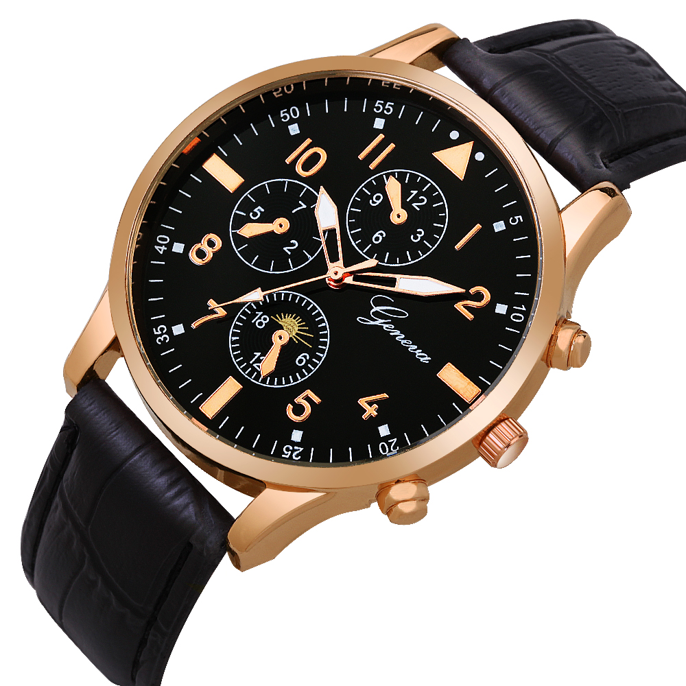 Fashion mens male classic business rose gold geneva leather watches wholesale men casual retro sport quartz