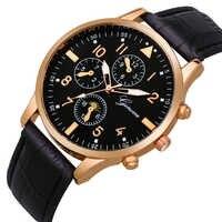 ファッションメンズ男性古典的なビジネスローズゴールドジュネーブ革卸売男性カジュアルレトロスポーツクォーツ腕時計