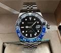 Мужские часы parnis  автоматические светящиеся часы с сапфирами и кристаллами GMT  40 мм  с синим и черным керамическим ободком  pa62-p8