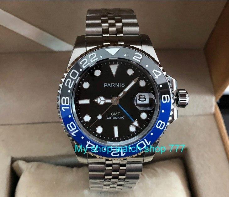 40 milímetros PARNIS GMT movimento máquinas Automáticas dos homens luminosos relógios de Cristal de Safira Azul & black bezel ceramic pa62-p8