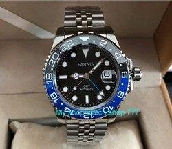 40mm PARNIS szafirowe GMT automatyczne maszyny ruch luminous zegarki męskie niebieski i czarny ceramiczna ramka szkiełka zegarka pa62 p8 w Zegarki mechaniczne od Zegarki na