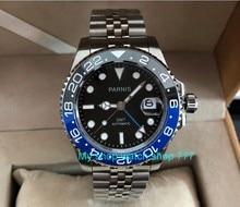 Zafiro PARNIS GMT de cristal de 40mm, movimiento de maquinaria automática, relojes luminosos para hombre, pa62 p8 de bisel de cerámica azul y negro