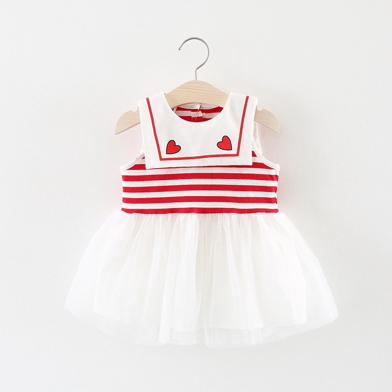 2018 summer hot style suit girls dress baby child either white gauze stripe splicing princess dress