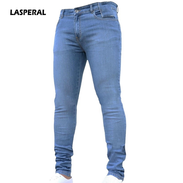 639ff874 LASPERAL 2019 New Fashion Men's Casual Stretch Skinny Jeans Trousers Tight  Pants Solid Color Jeans Men Brand Mens Designer Jeans