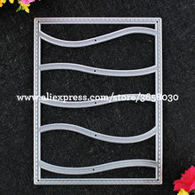 Wave Rectangle Metal Die cutting Dies For DIY Scrapbooking Photo Album Embossing Folder 8072637(China)