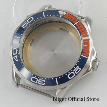 New BLIGER Brand Fit for MIYOTA Movement 41mm Watch Case With Ceremic Bezel Mental Silver Case