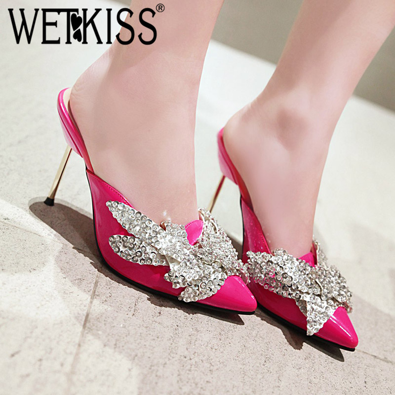 WETKISS Thin High Heels Slippers Women Pointed Toe Footwear Crystal Butterfly Knot Slides Shoes Female Mules Shoes Woman 2019WETKISS Thin High Heels Slippers Women Pointed Toe Footwear Crystal Butterfly Knot Slides Shoes Female Mules Shoes Woman 2019