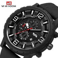 Relogio VAVA VOOM fashion trend sports style automatic date waterproof clock men's leather strap military quartz watch Wrist