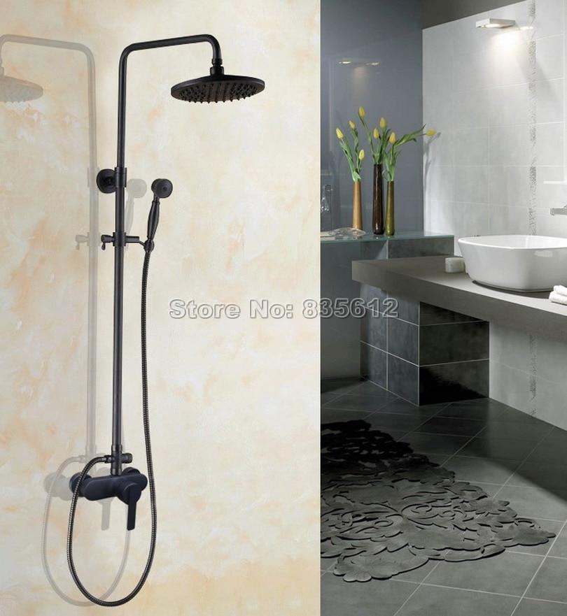 Bathroom Single Handle Rain Shower Faucet Set Black With Handheld Shower Oil Rubbed Bronze Mixer