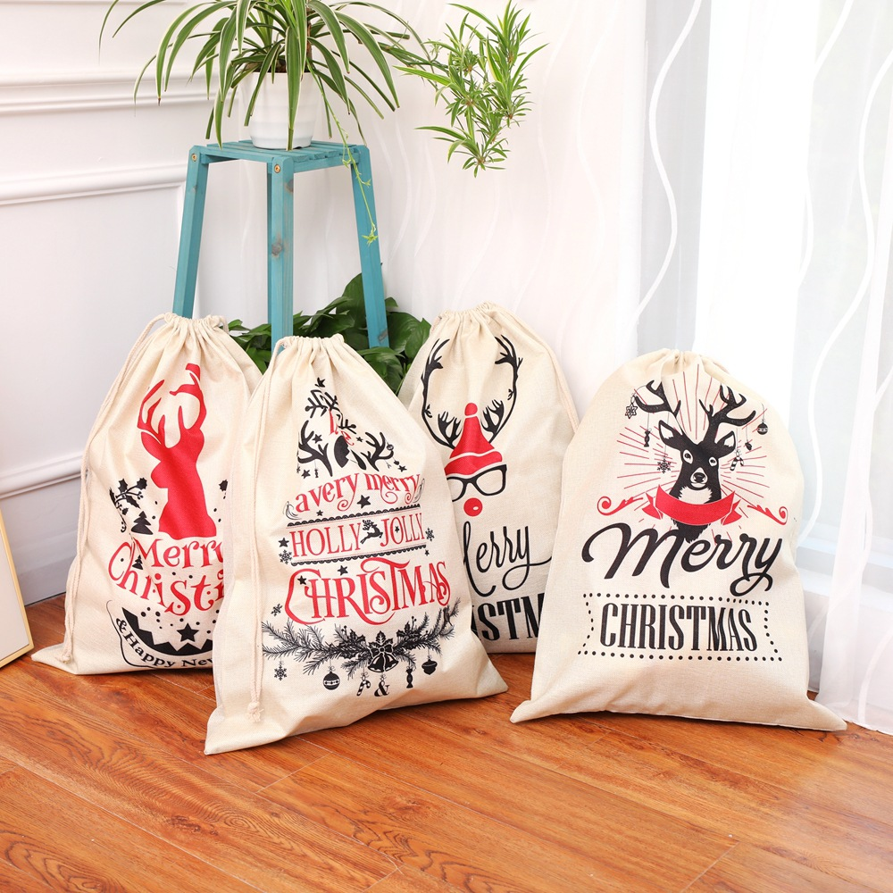 eTya Large Drawstring Bag New YearMerry Christmas Gift Candy Holders Case Storage Linen Bag Pocket Case candy cane patterned drawstring gift bag storage backpack