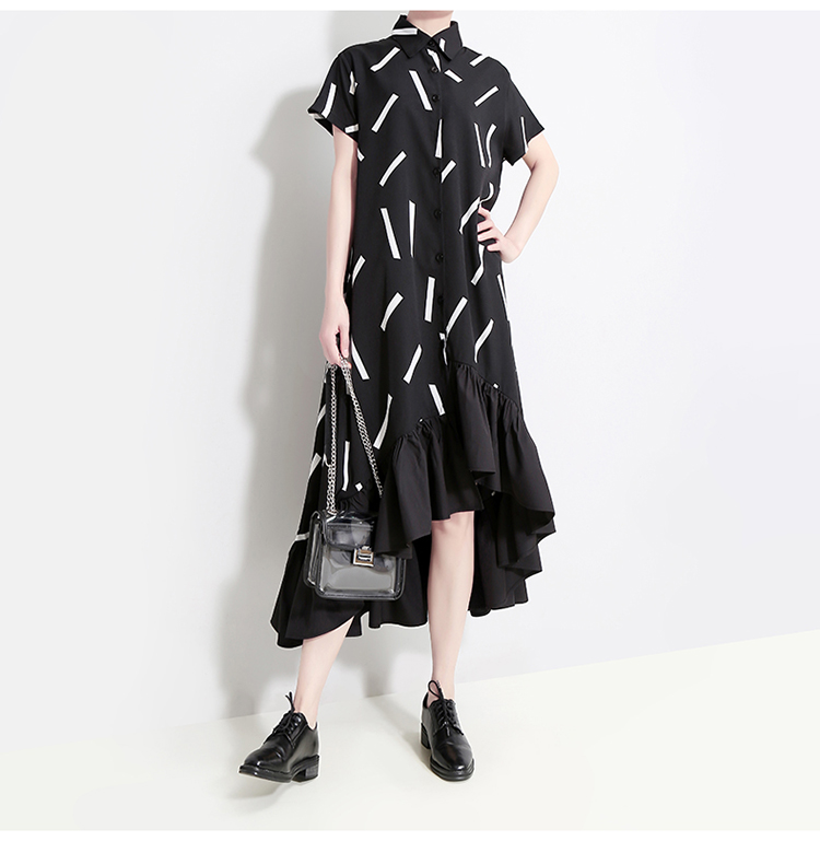 New Fashion Style Black Striped Ruffles Female Runway Shirt Dress Fashion Nova Clothing